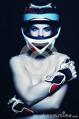 Woman in biker helmet