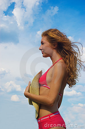 Woman in bikini with flying hair