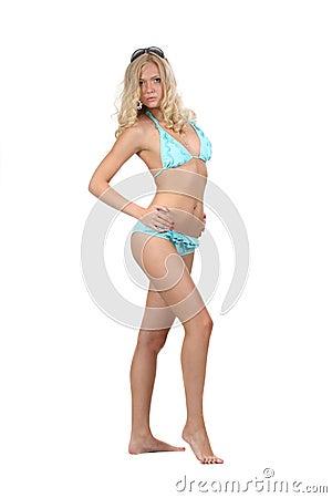Woman in bikini poses
