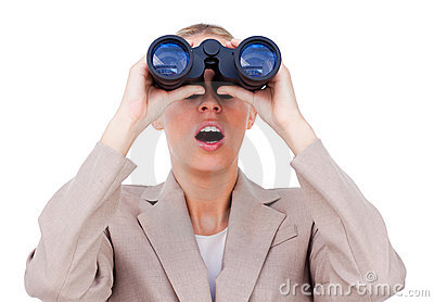 A woman with binocular