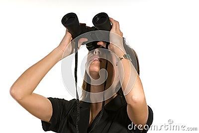 Woman with Binoculars Looks Up