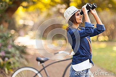 Woman bird watching