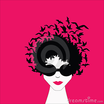 Woman with Birds in Hair