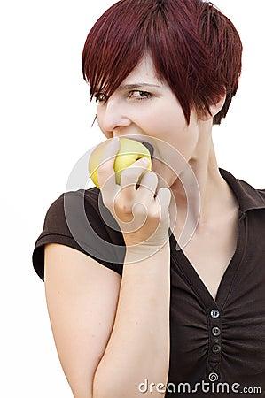 Woman bites an Apple