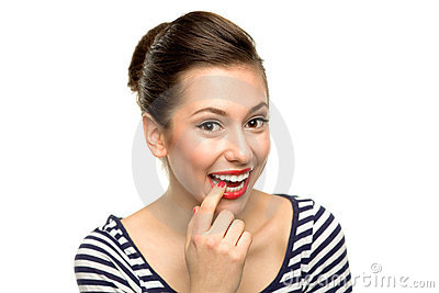 Woman biting her finger