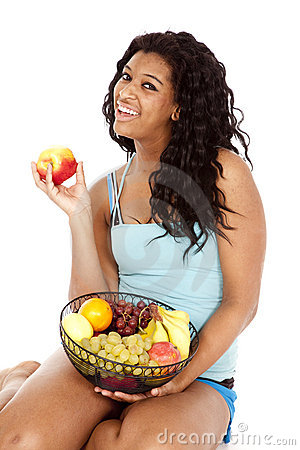 Woman black basket fuit apple