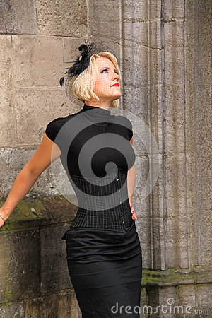 Free Woman Black Corset Vintage Outfit Street Royalty Free Stock Photography - 34715737