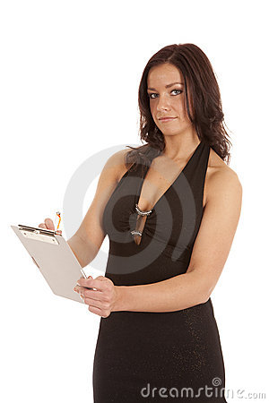Woman black dress clipboard writing