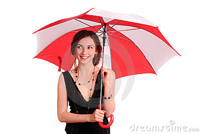 Woman in black dress, hold red umbrella