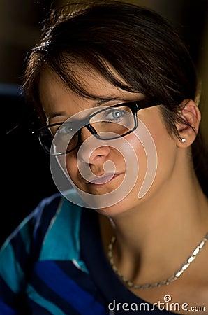 Woman in black eyeglasses