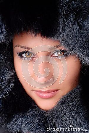 Woman and black fur