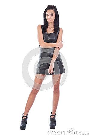 Woman in black leathe