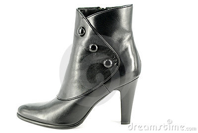 Woman black leather boot