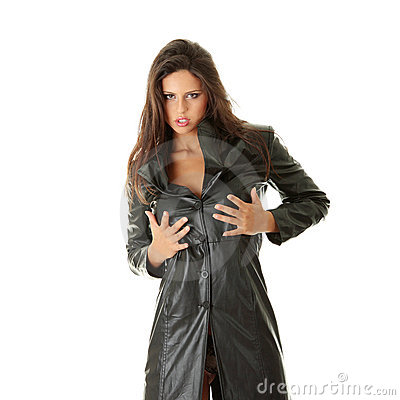 Woman In Black Leather Coat Royalty Free Stock Photos - Image ...
