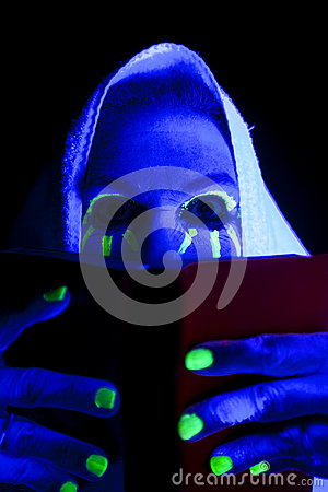 Woman Black Light Book Eyes Look Over Royalty Free Stock
