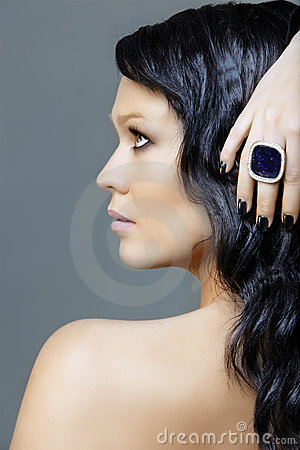 Woman with black manicure