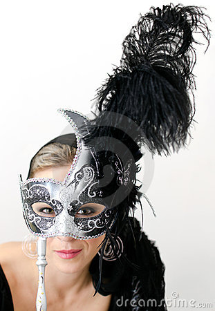 Woman in black mask