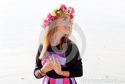 Woman In Black Purple And Pink Long Sleeve Dress And Pink Yellow And Beige Rose Headdress Free Public Domain Cc0 Image