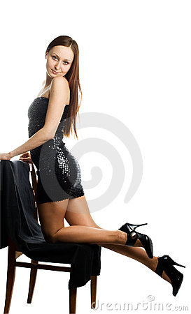 Woman in black shiny dress