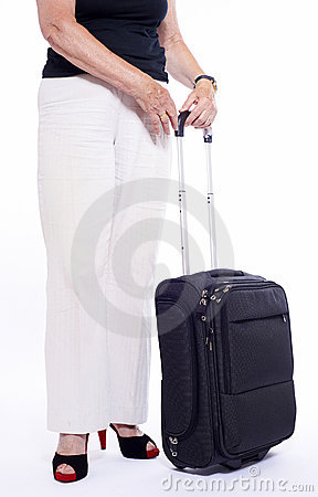 Woman with black travel suitcase