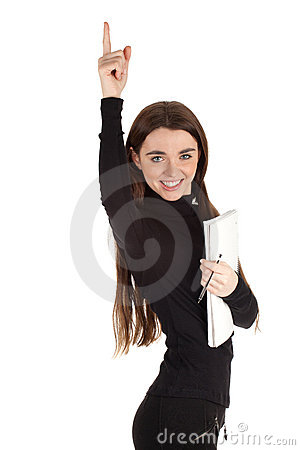 Woman with blank card pointing