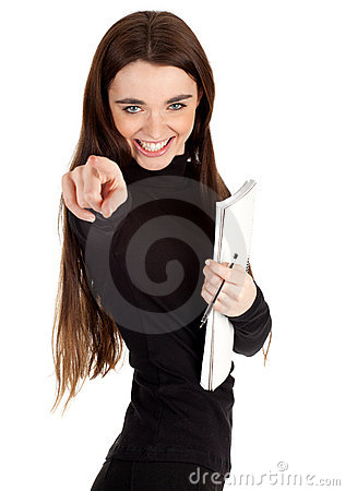 Woman with blank card pointing you