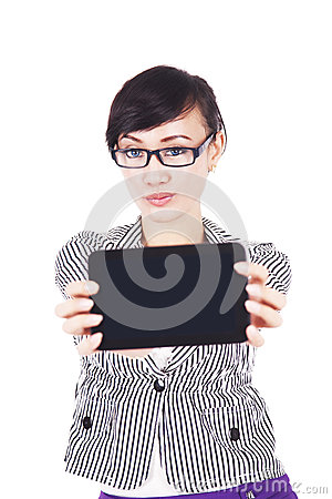 Woman with blank screen of tablet