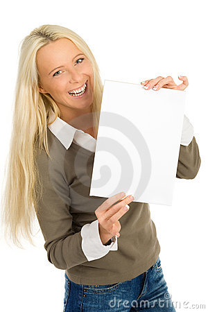 Woman blank sheet of paper