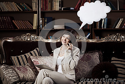 Woman with blank talking  bubble