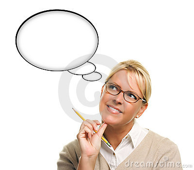 Woman and Blank Thought Bubbles with Clipping Path