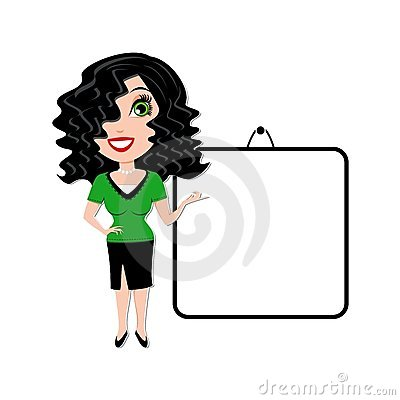 Woman with blank white presentation board