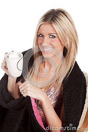 Woman blanket mug smile