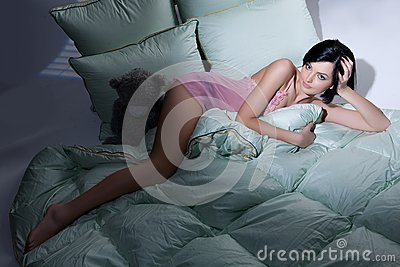 Woman, Blanket And Pillows