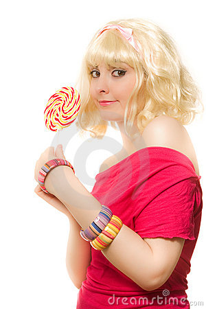 Woman in blond wig with lollipop