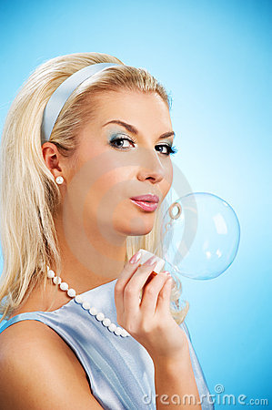 Free Woman Blowing Soap Bubble Stock Images - 8096814