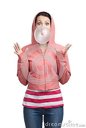 Woman blows out bubble gum