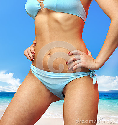 Woman in blue bathing suit