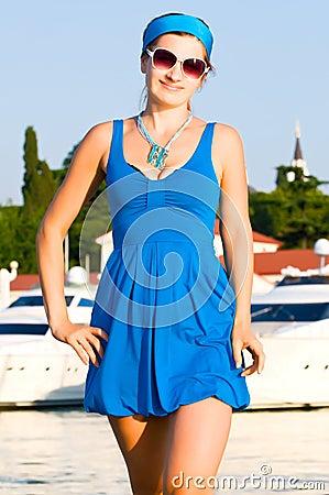 Woman on blue dress