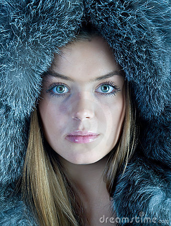 Woman in blue fur hat
