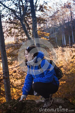 Woman In Blue And Gray Hoodie And Black Pants Sitting On Rock Formation Near Yellow Leaf Trees During Daytime Free Public Domain Cc0 Image
