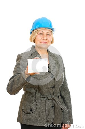 Woman with blue hard hat