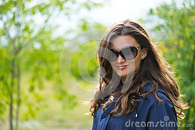 Woman in blue jacket