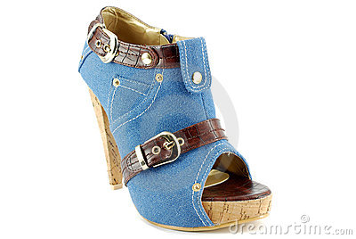 Woman blue jeans shoe