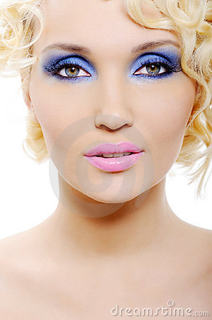 Woman with blue make-up