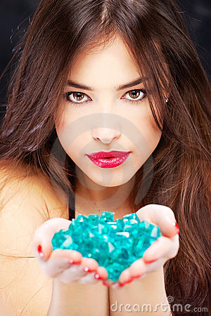 Woman with blue rocks