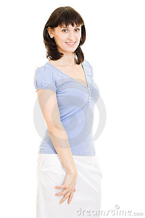 a in a blue shirt and white skirt stock photo