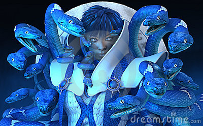 Woman with blue snakes