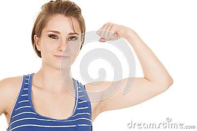 Woman blue striped tank fitness flex close