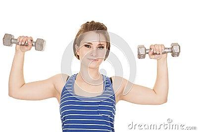 Woman blue striped tank fitness flex looking