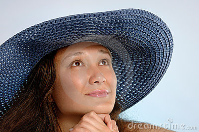 Woman in a Blue Sunhat